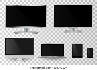 Realistic modern digital devices with empty screen isolated. Vector illustration
