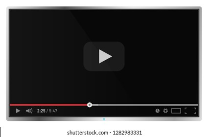 Realistic modern flat 4k TV monitor isolated on white background. Classic video player template on screen. Online video watching conecpt. Vector illustration