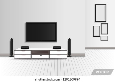 Realistic of modern interior living room and decorative furniture., Television and stereo surrounding of home theater decor., Vector 3D creative design, Illustration.