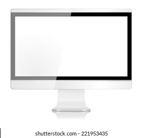 Realistic Modern LCD Computer Monitor Screen in White - Vector with grouped items, named layers and with a separate layer to easily add your own image to monitor screen EPS10