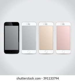 Realistic, modern, mobile smart phone collection on isolated background. Full iphon collection