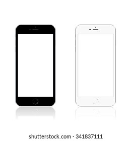 Realistic modern phone, mock up, isolated on white background. Vector illustration