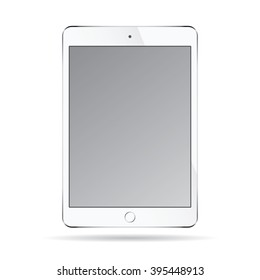 Realistic modern smart tablet ipad illustration with silver color isolated.
