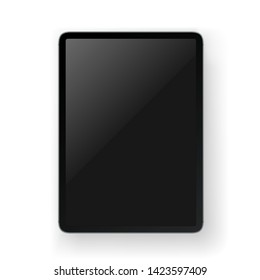 Realistic modern tablet gadget layered vector mock-up. Object isolated on white