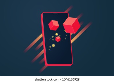 Realistic modern touch smartphone in red color on dark background. Augmented reality. 3d Vector illustration For infographics and design.