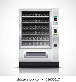 Realistic modern vending machine with steel body and electronic control panel on white background isolated vector illustration