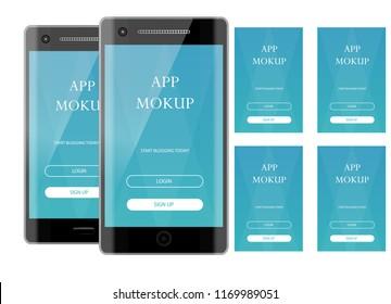 Realistic mokup smartphone . Vector illustration object mockup. Can use for printing, website, apps element. background for application mockups.