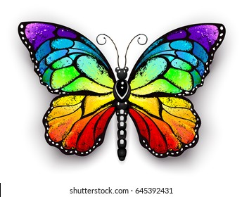 Realistic monarch butterfly in all colors of rainbow on white background.