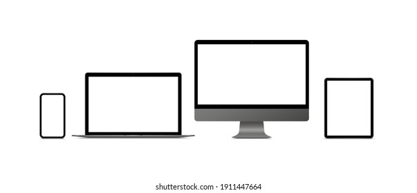 Realistic monitor computer, laptop, tablet and smartphone. Modern device set. Mock up desktop computer, notebook, tablet, mobile phone with blank screen. Electronic gadgets.