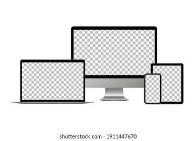 Realistic monitor computer, laptop, tablet and smartphone. Modern device set. Mock up desktop computer, notebook, tablet, mobile phone with background screen. Electronic gadgets.