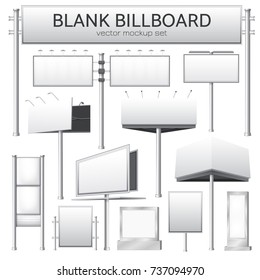 Realistic monochrome set of blank city rectangular billboard mockup for outdoor advertising banners or design isolated vector illustration