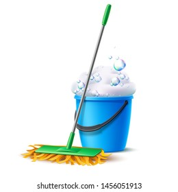 Realistic mop and blue bucket full of soapy foam with colorful bubbles. Floor mopping concept for housework design. Vector cleaning service banner. Domestic hygiene household chores 3d poster.