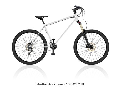 Realistic mountain bike, isolated on white. Bicycle Hardtail. Very high level of drawing Object realism. Blank template layout. Vector eps10