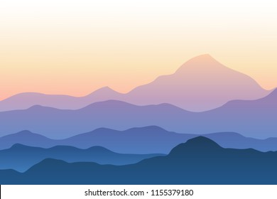 Realistic mountain landscape vector illustration. Silhouettes of mountains against sunset sky