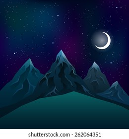 Realistic mountains at night during a moon with a star neom