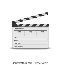 realistic movie clapperboard on white background. White cinema clapper board