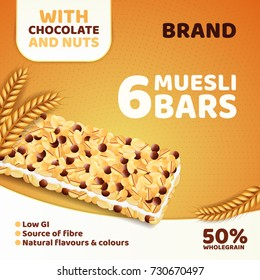 Realistic muesli bars advertising. Healthy grain snack package design template. Vector illustration advertisement