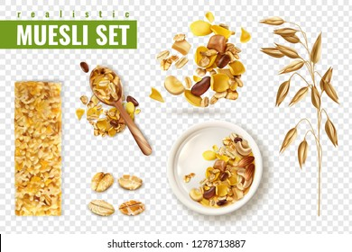 Realistic muesli on transparent background set with isolated images of cereals spreading and bars with text vector illustration