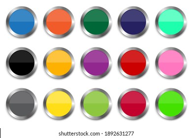 Realistic multicolored buttons. Colored buttons with metallic outline. Elements for web design. Stock image. EPS 10.