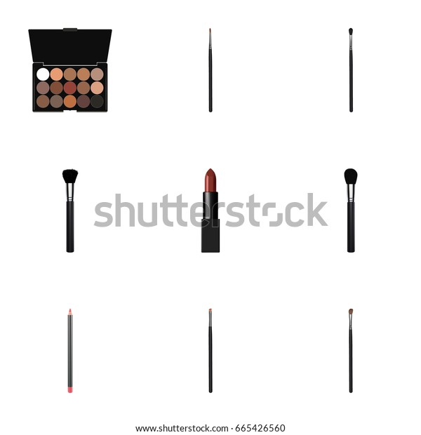 Realistic Multicolored Palette, Brush, Mouth Pen And Other Vector Elements. Set Of Greasepaint Realistic Symbols Also Includes Pomade, Makeup, Lip Objects.
