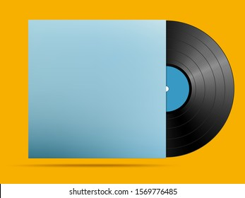 realistic musical black plate in a cardboard cover on a bright yellow background