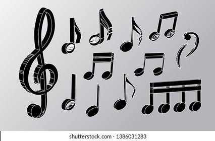 realistic musical notes and treble clef isolated on a light background. abstract 3d vector music notes for design in the style of realism. vector graphics