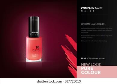 Realistic nails lacquer mockup. Advertisement design for fashion company. Nail polish mockup.