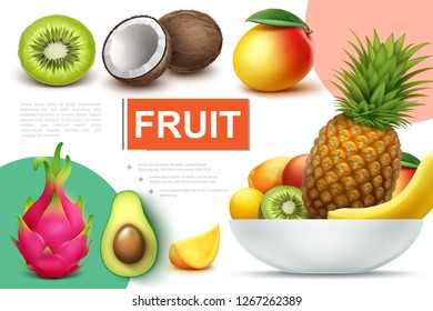Realistic natural fruits composition with bowl of pineapple banana kiwi mango kumquat avocado coconut dragonfruit vector illustration