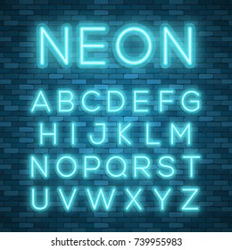 Realistic neon alphabet. Bright neon glowing font. Vector format neon