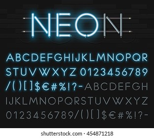 Realistic neon alphabet on a background of brick wall. Neon glowing font. Vector format
