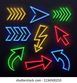 Realistic neon arrows. Night arrow sign lamp lights. Shining arrowhead transparent party theatre elements bar entertainment casino signs and glowing motel directional light pointers vector icon set