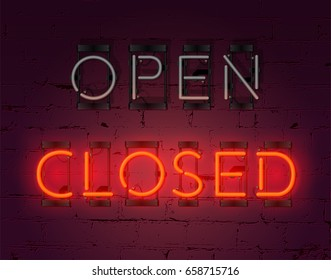 "Realistic neon glowing ""Closed"" inscription sign on brick wall background and non glowing ""Open"". Vector"