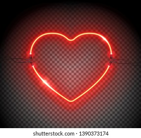 Realistic Neon sign of heart. Retro neon heart logo on transparent background. Graphic Design element can be used for 8 March, Valentine's Day, L