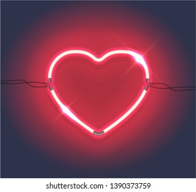 Realistic Neon sign of heart. Retro neon heart logo on dark background. Graphic Design element can be used for 8 March, Valentine's Day, Logo, Greeting card, Icon, banner. Vector EPS 10