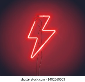 Realistic Neon sign of lightning bolt on the dark background. Red Flash, Thunder strike Graphic element can be used for icon, logo, banner. Vector EPS 10