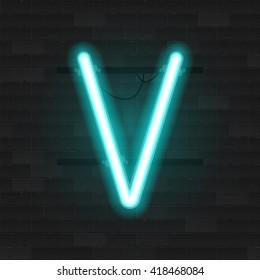 Realistic neon tube alphabet. Vector 3D illustration. Letter V