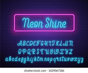 Realistic neon vector script font on brick wall.