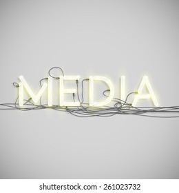 Realistic neon word with wires, vector