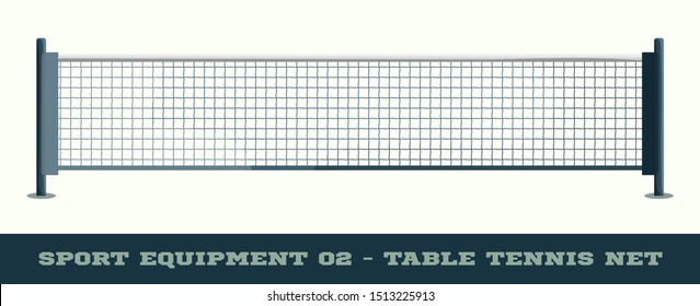 Realistic net for table tennis ping pong vector illustration isolated on white background.