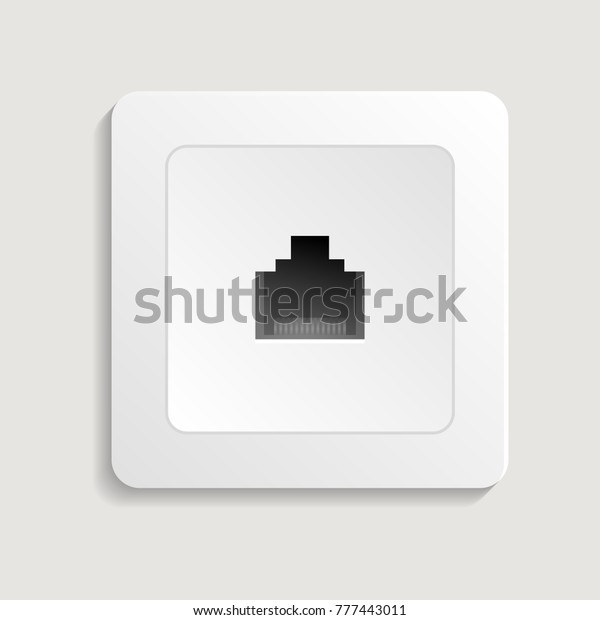 e6465820a246 Realistic network outlet vector icon. Electrictric equipment for house  interior wall installation isolated vector illustration