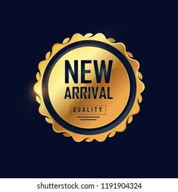 Realistic new arrival composition badges with golden style
