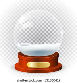 Realistic new year chrismas snow globe isolated on transparent background. vector illustration.