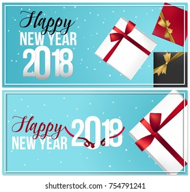 Realistic New Years greeting card. Simple vector illustration concept for greeting cards, vouchers, web banner, flayer brochure, party invitation and other printed material.