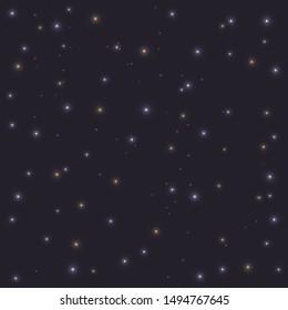 Realistic night blue sky with shining stars. Vector astranomy bright light illustration art