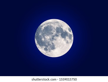 Realistic Nighttime full moon sky. Lunar night. Vector illustration image. Isolated on blue background.