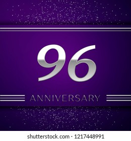 Realistic Ninety six Years Anniversary Celebration design banner. Silver number and confetti on purple background. Colorful Vector template elements for your birthday party
