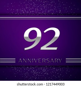 Realistic Ninety two Years Anniversary Celebration design banner. Silver number and confetti on purple background. Colorful Vector template elements for your birthday party