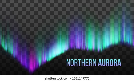Realistic Northern Aurora Atmosphere Light Vector. Bright Colorful Composition Of Phenomenon Arctic Polaris Aurora Sky Light Isolated On Transparency Grid Background. 3d Illustration