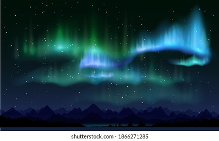 Realistic northern lights, vector illustration. Night sky and amazing polar lights, mountain landscape. Aurora borealis poster, banner template.