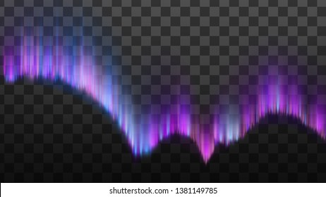 Realistic Northern Polaris Aurora Light Vector. Aurora Appear Diffuse Glow Or Curtains. Magnetic Midnight Atmospheric Colorful Phenomenon Isolated On Transparency Grid Background. 3d Illustration